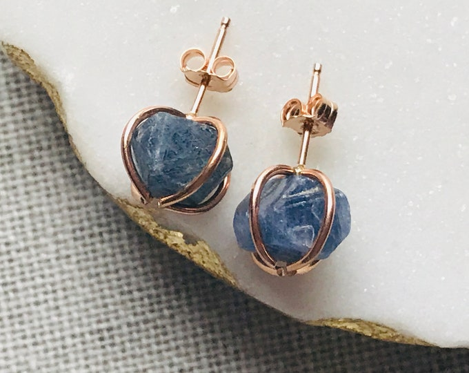 Featured listing image: Raw Stone Sapphire Gold Filled Studs, Natural Stone Earrings for Wisdom and Concentration, Sapphire earrings, September Birthstone Jewelry
