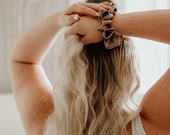 Taupe Satin Scrunchie • Large Fit Silky Hair Tie