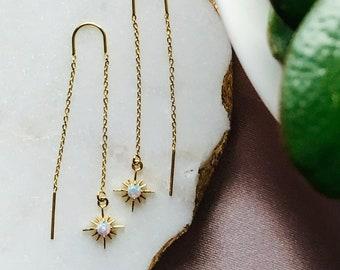 Opal Celestial Threader • Gold Opal Star Threader Earrings