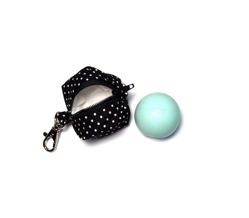 Eos Style Lip Balm Holder Zipper Pouch With Clip For Circle Or Egg Shape Lip Balms Black And White Polka