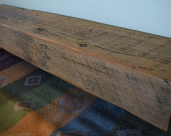 "Reclaimed Fireplace Mantel Shelf 35"" x 6"" x 4"" Mantle Barn Beam Floating Shelf Wood Antique 1700s 1800s Rustic Distressed"