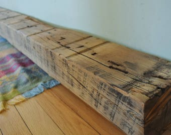 "Reclaimed Wood Fireplace Mantel 98"" x 6"" x 4"" Mantle Shelf Barn Beam 8 Eight Feet Barnwood Antique 1700s 1800s Rustic Distressed"