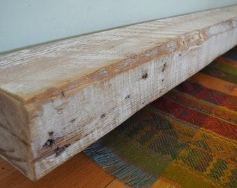 "Reclaimed Wood Mantel 84"" x 6"" x 4"" Fireplace Mantle Shelf Barnwood Shelving Whitewashed White Seven 7 Feet Rustic Distressed Barn Beam"