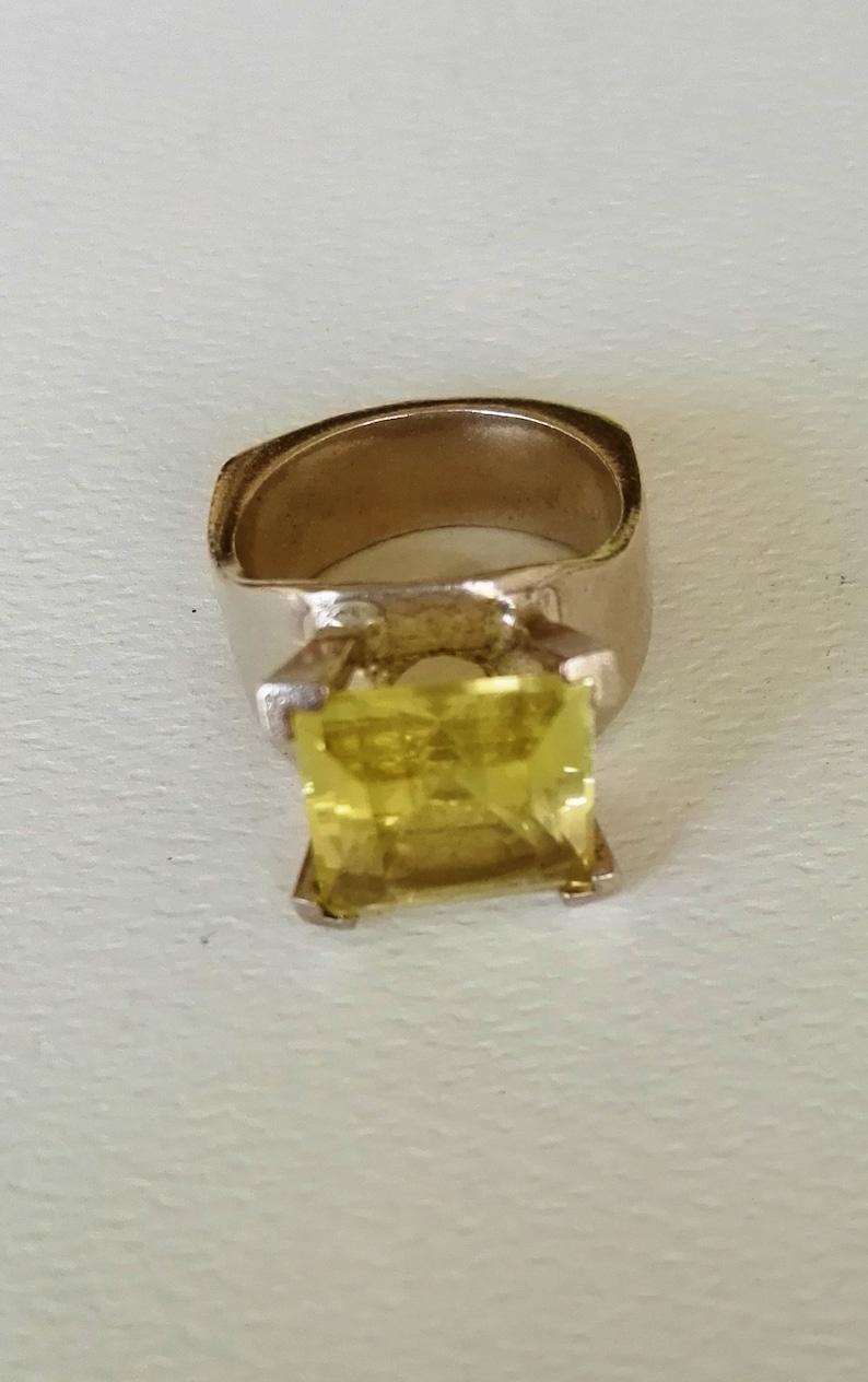 silver ring handmade silver ring lemon quartz silver ring statement square lemon quartz ring Silver ring with stone yellow quartz ring