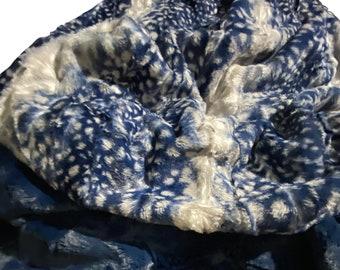 Fawn Faux Fur Minky Throw Blanket, Navy  Faux Fur Minky Adult Blanket , Blue Faux Fur Fawn Minky Blanket