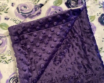 Purple Rose Minky Blanket, Personalized Throw Blanket, Adult Minky Blanket, Purple Minky Blanket