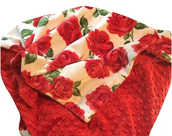Red Rose Adult Minky Blanket, Floral Minky Throw Blanket, Dorm Room Blanket