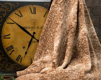 Deer Faux Fur Luxury Throw, Faux Fur Blanket with Fawn Print, Fur Minky Throw Blanket, Home Decor Luxury Bedding, Minky Adult Blanket,