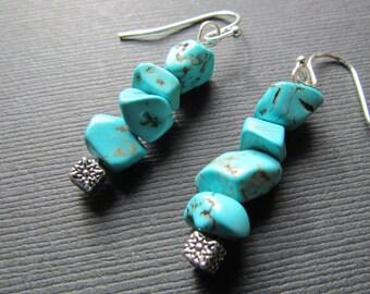 Turquoise Earrings - Bright Blue Dangle Earrings - Handmade Jewelry