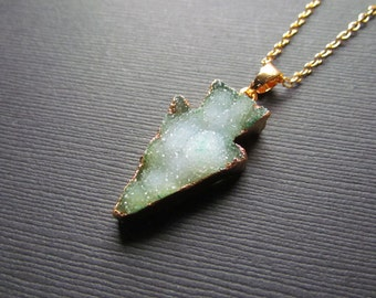 Green Druzy Necklace - Arrow Necklace - Druzy Pendant - Gold Filled Pendant - Agate Necklace -