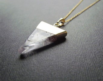 Quartz Necklace - Gold Filled Chain - Quartz Pendant - Gemstone Jewelry - Triangle Necklace - Layering Necklace -