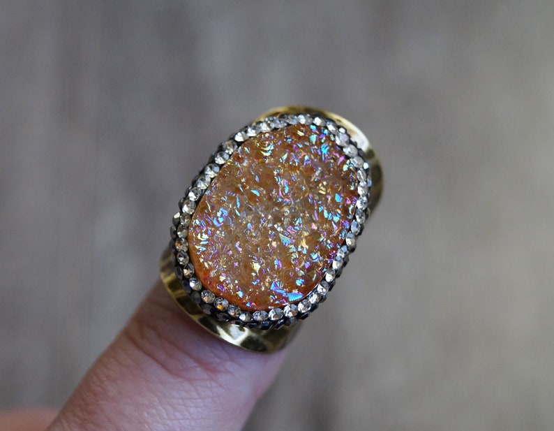 Peach Druzy Ring with a Designer Bronze Setting Sparkly Black and White Crystals Rainbow finish