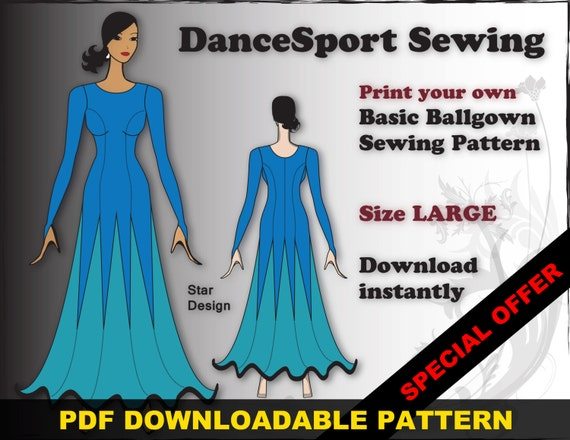 Ballroom and Latin Gown Sewing Pattern PDF downloadable SIZE | Etsy