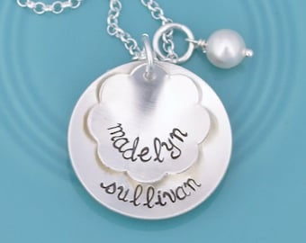 Mom Mommy Stamped Kids Names Necklace  - Two 2 Childrens Names Personalized Necklace Jewelry - Sterling Silver Handstamped Necklace Jewelry