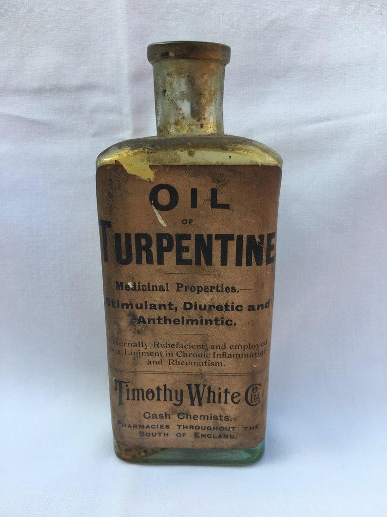 Fully labelled OIL TURPENTINE Timothy Whites Dispensing Chemists Bottle