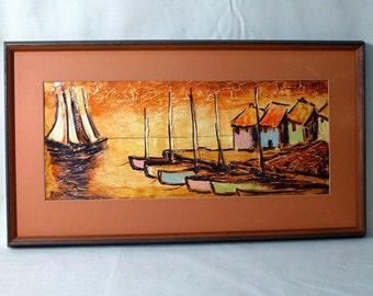 Tropical Fishing Village Original Painting by Andre Cantie Signed Framed Colorful Island Sailboat House Art Sunset Harbor
