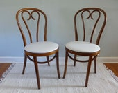 Pair of Vintage Bentwood Thonet Cafe Chairs Walnut Finish Cotton Duck Upholstery Seats Romania Wood Restaurant Seating 18 Available