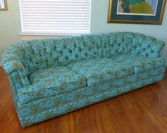 Vintage Howard Parlor Custom Turquoise Aqua Green Floral Sofa Tufted  Channeled Chesterfield Couch Retro Funky Flower Power Seating Living