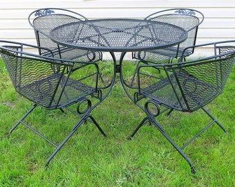 5f7cd89ab141 Russell Woodard Patio Set 4 Spring Bounce Barrel Back Chairs and Dining  Table Floral Rose Metal Mesh Outdoor Furniture Mid Century Modern