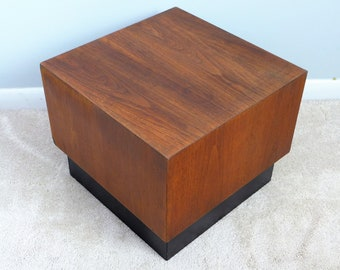 Adrian Pearsall Cube Table Craft Associates Black Plinth Base End Table Mid  Century Modern Design Walnut Block Table
