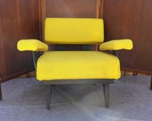 Bright Yellow Bentwood Armchair Mod Floating Arm Design Vintage Black Bent Plywood Frame Mid Century Modern Armchair Living Room Furniture