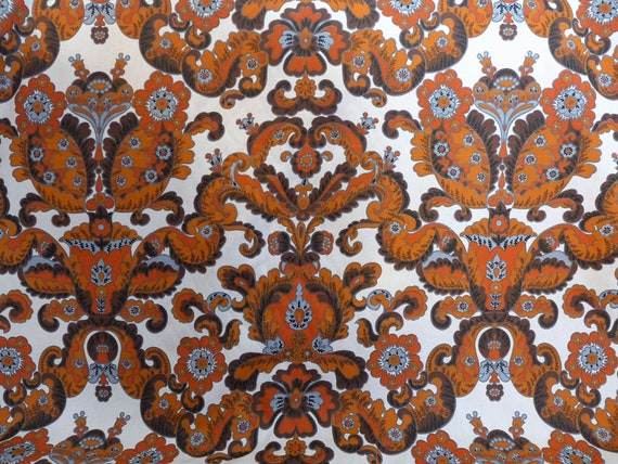 Vintage Retro Print Upholstery Fabric By The Yard 54 Etsy