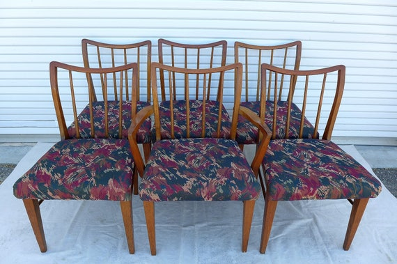 Excellent Set Of 6 Curved Spindle Back Dining Chairs Mid Century Modern Solid Wood Chair Rollover Cushioned Seats Dining Room Furniture Machost Co Dining Chair Design Ideas Machostcouk