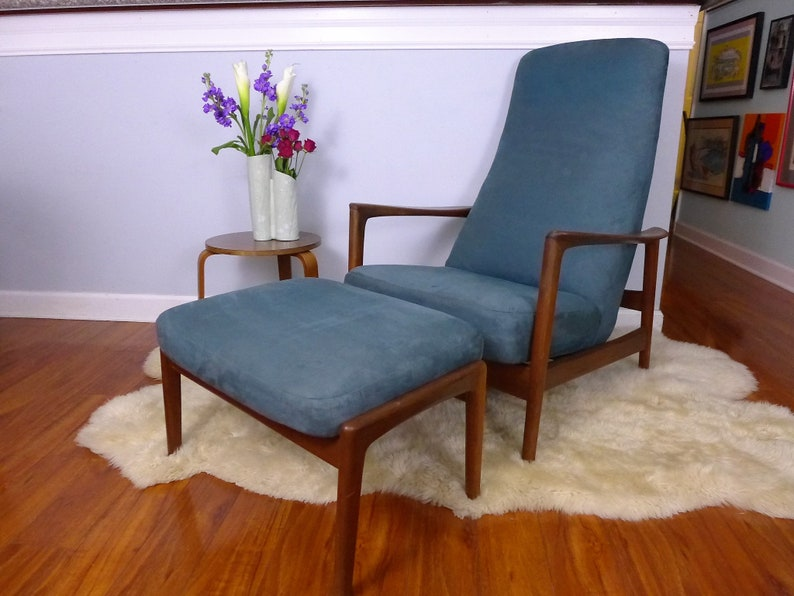 5337068c8 Folke Ohlsson for DUX High Back Rocking Recliner with Ottoman Danish Modern  Walnut Lounge Chair Teal Blue Ultra Suede Fabric Velveteen