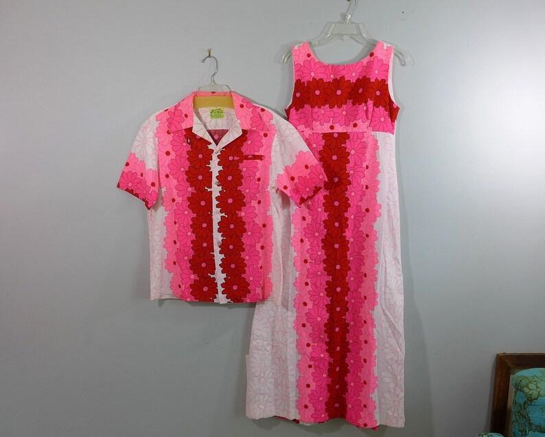 dc2fc964b His and Hers Vintage Hawaiian Barkcloth Maxi Dress Small and | Etsy