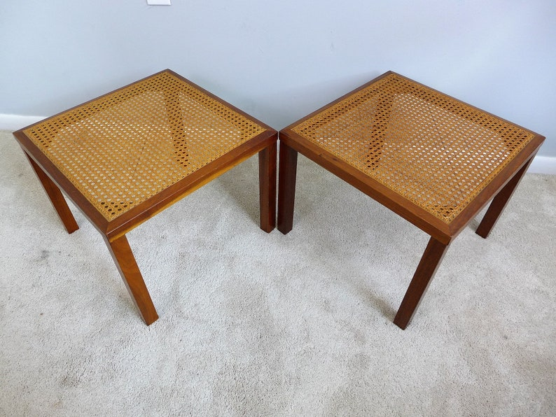 Sqaure Mid Century Modern Accent Chairs.Pair Of Vintage Cane Top End Tables Mid Century Modern Square Stacking Side Tables Walnut Medium Wood Finish 2 Accent Table Plant Stand