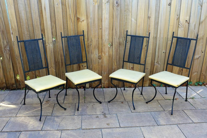 8906882fbfe9 High Mesh Back Patio Chairs Set of 4 Mid Century Modern Metal