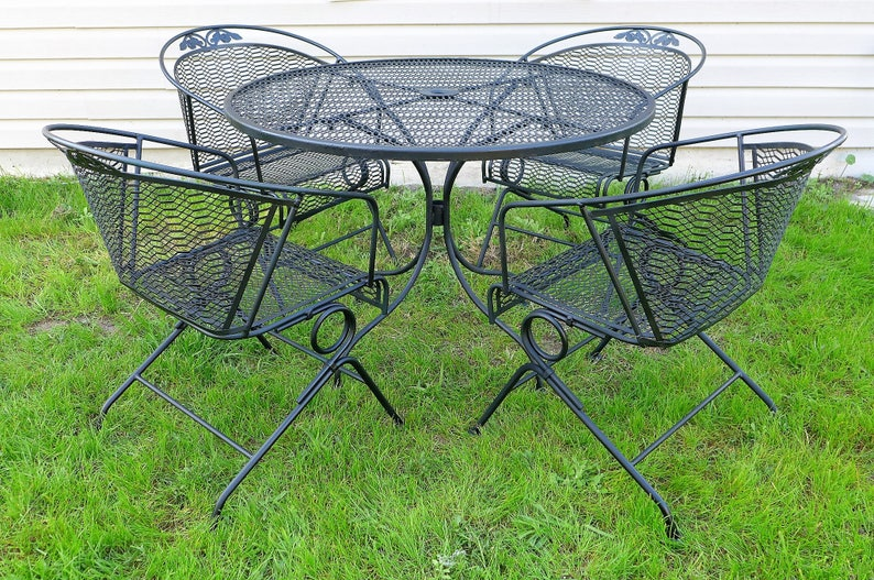 Russell Woodard Patio Set 4 Spring Bounce Barrel Back Chairs Etsy