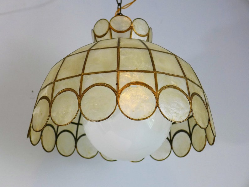 3bd231b20223 Capiz Shell Chandelier Vintage Opalescent and Brass Scallop