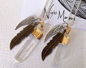 Quartz crystal pendant gold plated with bronze and silver charms - necklace