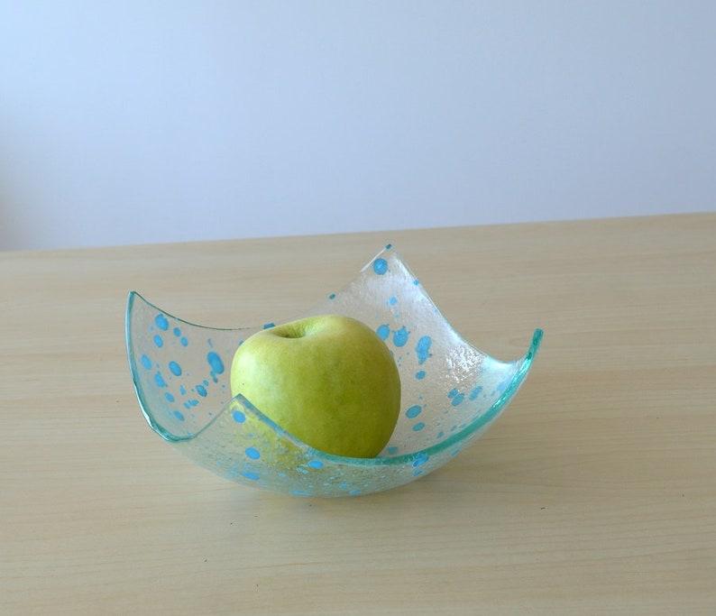 Designer Fruit Bowl Minimalist Blue Glass Fruit Bowl Sky Blue Accents Glass Bowl Blue Fruitbowl M Modern Fused Glass Fruit Bowl