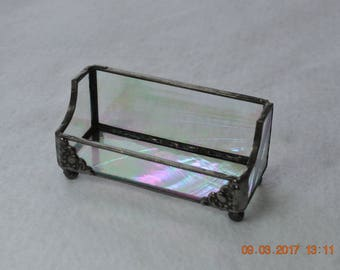 Clear Iridescent Baroque Stained Glass Business Card Holder