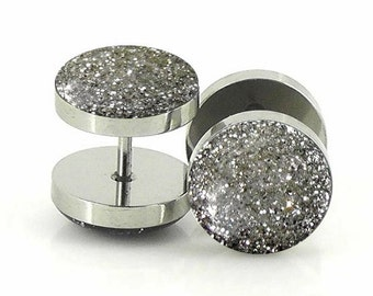Sterling Silver Glitter Fake Plugs - 18g Fake 7mm,12mm,14mm