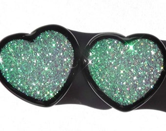 """Alice In Iridescent Land Sparkle Heart plugs  -  2g,0g,00g,7/16,1/2,9/16,5/8,11/16,3/4,7/8,1"""""""