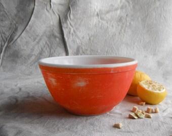 Rough Red-Orange Pyrex Mixing Bowl