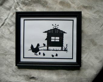 Framed Papercut Hen and Chicks with Coop. In Black and White