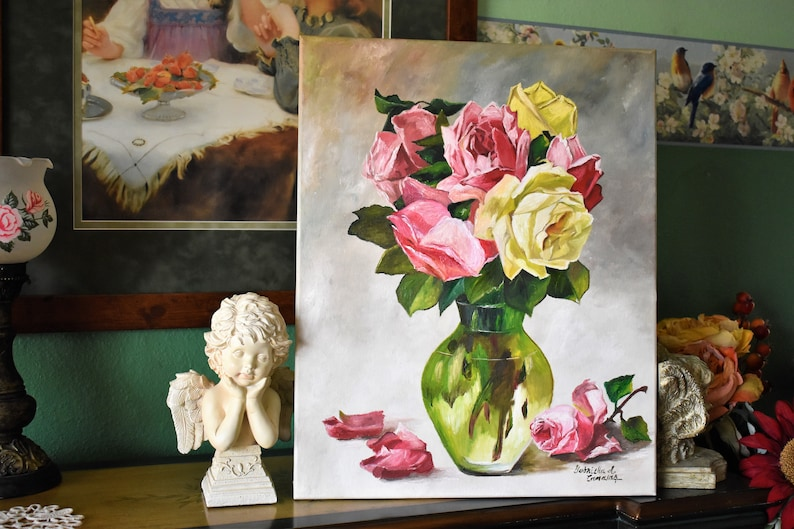 VintageVictorian Inspired Still Life with Cottage Roses in a Vase ~ Shabby