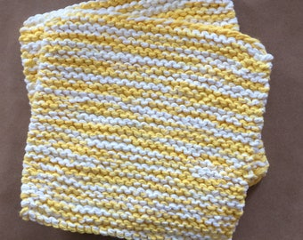 Hand Knit Cotton Pot Holders - Set of 2 - Yellow and White  Hot Pads