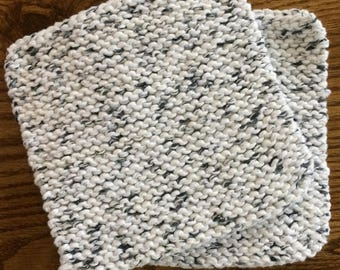 Hand Knit Pot Holders - Set of 2 - White with Gray Hot Pad