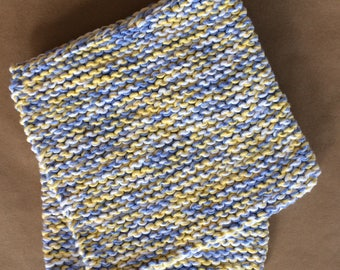 Hand Knit Cotton Pot Holders - Set of 2 - Blue Yellow and White  Hot Pads