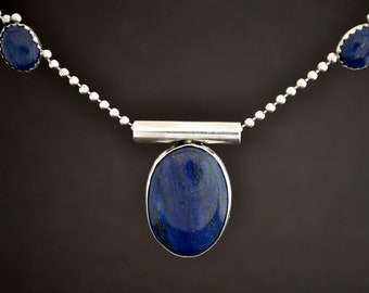 Denim Lapis Pendant, Sterling Silver Necklace, September Birthstone, Statement Necklace, Bridesmaids Gifts, Lapis Lazuli, Free Shipping