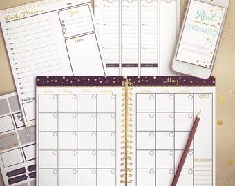 Undated Planner, Weekly Planner, Monthly Planner, Printable Calendar, Planner, Agenda, Black and Gold