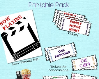 At Home Movie Night Printable Pack for a DIY Family Movie Night Idea