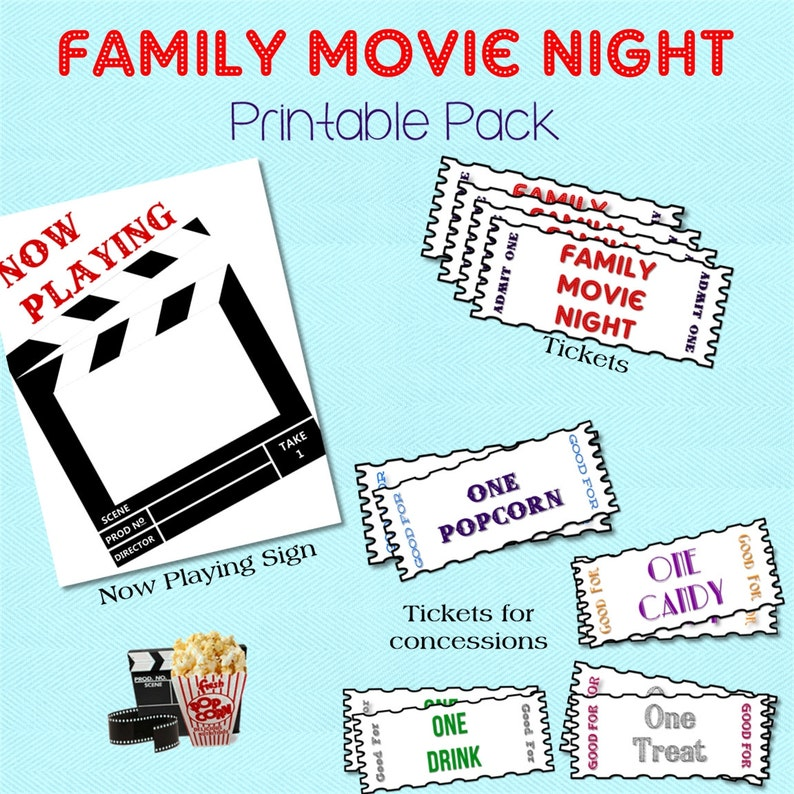 At Home Movie Night Printable Pack for a DIY Family Movie image 1