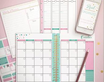 Undated Planner, Weekly Planner, Monthly Planner, Printable Calendar, Planner, Agenda, Pink