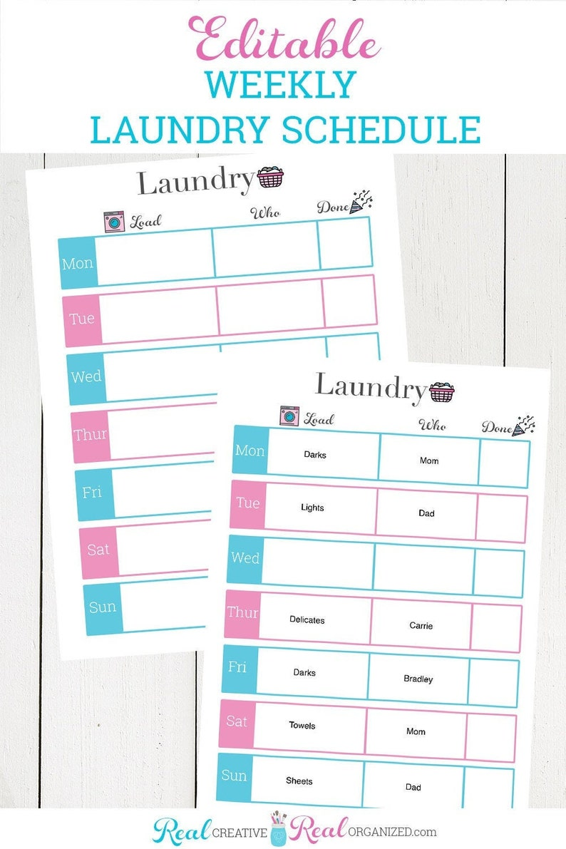 Editable Laundry Schedule and Customizable Weekly Laundry image 1